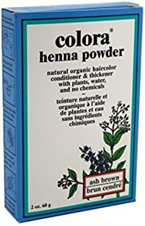Colora Henna Powder Hair Color Ash Brown 2 Ounce (59ml) (2 Pack)