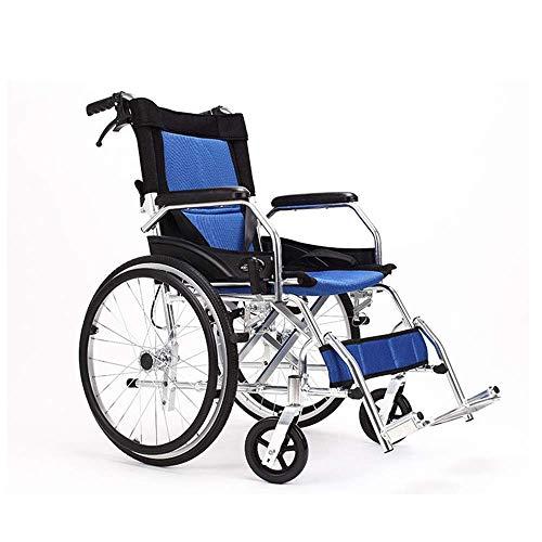 BAI Zusammenklappbarer Rollstuhl, ultraleichter manueller Rollstuhl mit Antrieb für ältere Menschen mit Behinderung im Freien