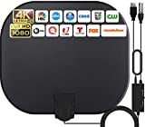 2021 Antenne TV Intérieur Puissante,380KM Gamme Antenne TV avec Amplificateur Smart Signal Booster,Antenne Soutien 1080P 4K Smart TV and Toute Vieille TV,Antenne TNT DVB-T/DTMB,5 Mètres Câble Coaxial