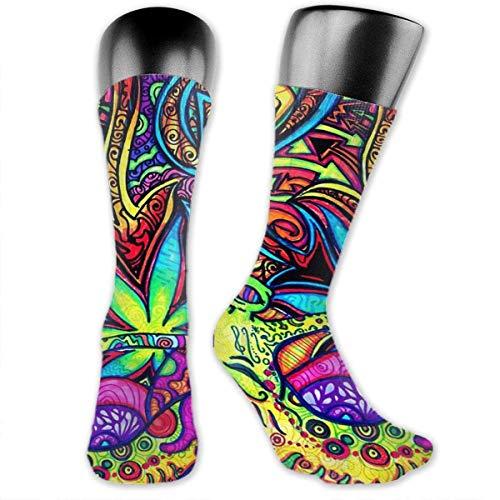 SDGSS High quality breathable Socken Psychedelic Multi Color Marijuana Leaf Weed Art Mid-Calf Crew Socks Breathable Athletic Socks Classics High Ankle Socks for Adults Teens Unisex