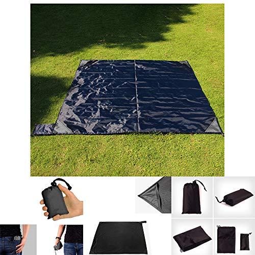 ALLOMN Isomatte, 140 cm x 200 cm Taschen-Campingdecke Tragbare ultradünne Falten-Isomatte Wasserdicht und Sanddicht Picknickdecke (Schwarz)