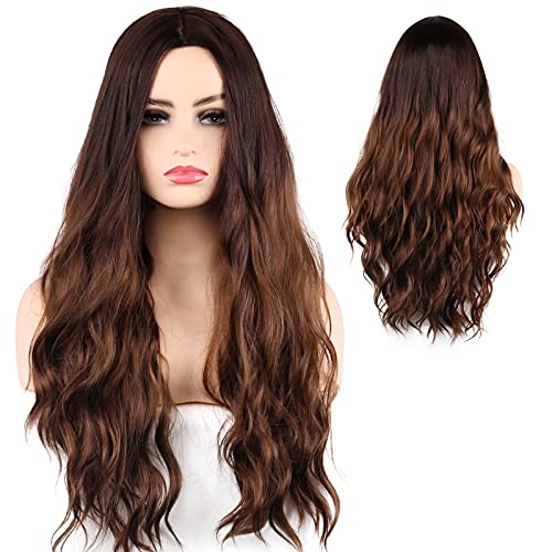 """Brown Wig, 24"""" Long Wavy Hair Wigs for Women Synthetic Heat Resistant Headband Wig Daily Party Natural Looking Light Brown Wig"""