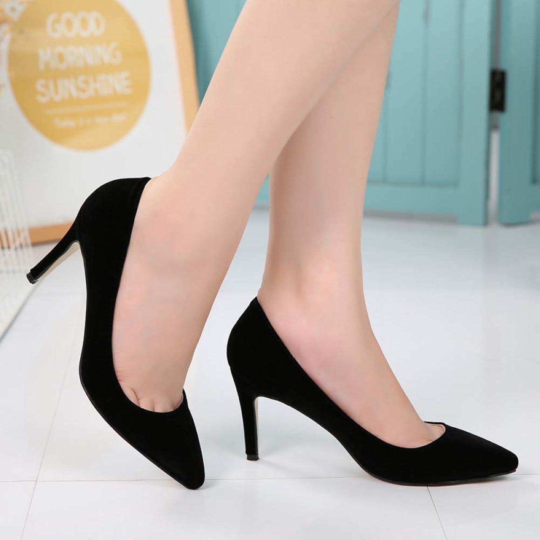 FASZQ shoes Women 8 cm High Heels Pumps Flock Pointed Toe Women Pumps Ladies shoes Thin High Heel shoes Large Size 43 44 Black