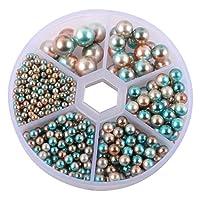 TEHAUX パール 小さな パールビーズ 樹脂パール 光沢 穴なし DIY 材料 手芸用品 手芸材料 DIY用 ジュエリー用 3/4/5/6/8/10mm ケース付き