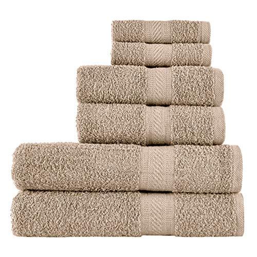 SweetNeedle - Uso diario Juego de toallas de 6 piezas, Lino - 2 toallas de baño 70x140 CM, 2 toallas de mano 50x90 CM, 2 paño de lavado 30x30 CM - Algodón 100% ringings, peso pesado y absorbente