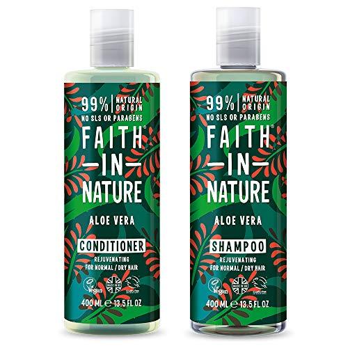 Faith In Nature Aloe Vera Shampoo and Conditioner Duo. Vegan, Cruelty Free Paraben & SLS Free