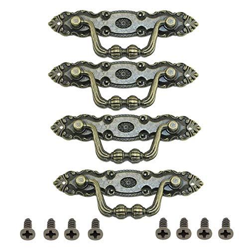 Manijas de Aluminio para Cajón de Cocina Puertas Armarios Tiradores de Puertas Rusticos Barra de Puerta Mueble Tiradores Con tornillos Tirador de Puerta para Cajones Vintage Tiradores Cocina(4 piezas)