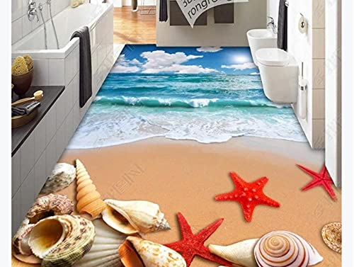 Baldosas de suelo elevadas 3D Vinilo para papel tapiz de suelo Playa Agua de mar Concha de mar Estrella de mar 3D Estéreo Baldosa-350 * 245Cm Vinilo extraíble Pvc Ladrillo Piedra