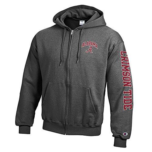 Elite Fan Shop Alabama Crimson Tide Full Zip Hoodie Sweatshirt Charcoal Letterman - X-Large