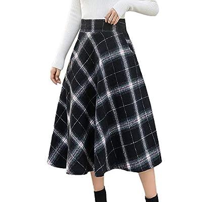 Women's Flare Long Plaid Skirt Autumn Winter Warm High Elastic Waist Maxi Skirt A-line Plaid Skirts