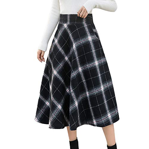 Rosennie Röcke Damen Vintage Long Rock Hohe Elastische Taille Maxi Rock A-Line Plaid Winter Langer Rock Mode Karierte Maxirock Faltenrock Plissee Retro Maxi Langer Rock Pencil Skirt