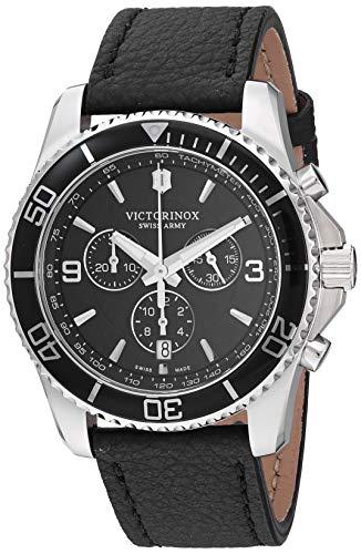 Victorinox Men's Stainless Steel Swiss Quartz Sport Watch with Leather Strap, Black, 21.6 (Model: 241864)