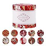 Rollo de jalea de tela, 10 tiras de tela para acolchar, manualidades de patchwork con diferentes patrones para manualidades, DIY Patchwork tela de algodón enrollable, 6,2 x 100 cm rojo