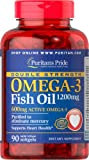 Puritan's Pride Double Strength Omega-3 Fish Oil 1200 mg/600 mg Omega-3-90 Softgels