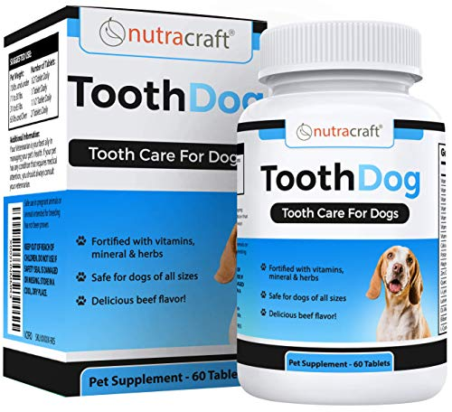 Nutracraft ToothDog Dental Supplement for Dogs - Advanced Formula for Dog Teeth and Gum Health - Vitamin, Mineral & Tooth Blend - 100% - 60 Tablets