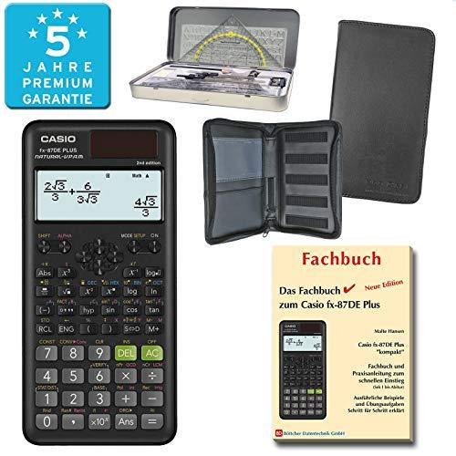 Casio FX-87DE Plus 2nd Edition (PREMIUMpaket) + Erweiterte Garantie + Schutztasche + Fachbuch + Geometrieset : calcumio Artikel Set