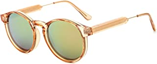 SUERTREE Summer Fashion Round Sunglasses Vintage Metal Frame Mirror Men Women UV 400 Protect Shades for Travel JH9005