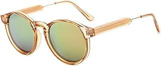SUERTREE Small Round Sunglasses UV400 Unisex Shades Cute Half Metal Arms Eyeglasses JH9005