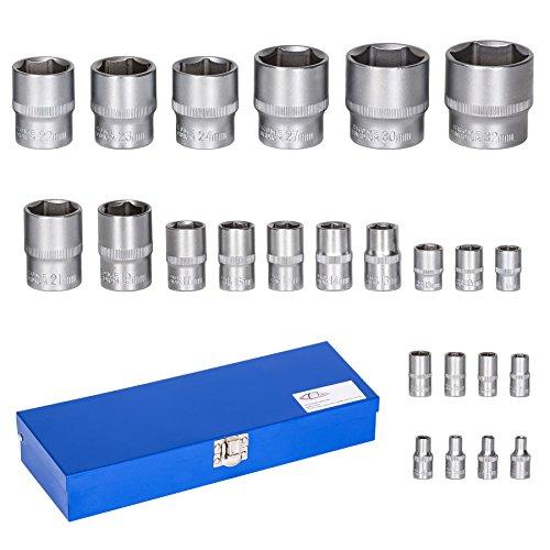 TecTake Werkzeug Nüsse 24-tlg. Steckschlüssel Satz Nusskasten 1/2 Zoll + 1/4 Zoll inkl. stabiler Werkzeugkassette