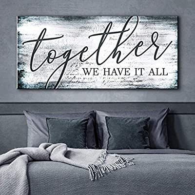 Sense of Art | Together We Have It All Quote | Wood Framed Canvas | Ready to Hang Couples Wall Art for Home and Kitchen Decoration by Sense of Art