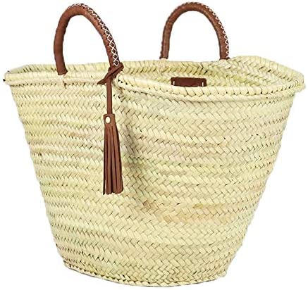 ArtOuarzazate Woven Moroccan Market Basket Straw Beach Bag French Market Basket with Short TAN product image