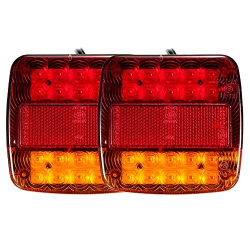 Enjoygoeu 2PCS 20LED Luces Traseras Led 12V de Remolque Luz Piloto Rojo de Freno Indicador Impermeable Placa de Matrícula Atrás para Coche Camión Ambar Van Caravana