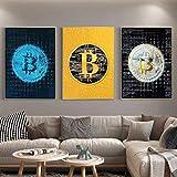 Impresión en lienzo Colección financiera Valor Bitcoin Pinturas en los carteles Impresiones Imágenes de pared para decoración de oficina 50x75cmx3 Sin marco
