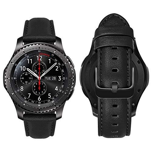 MroTech Cinturino 22mm compatibile con Samsung Gear S3 Frontier/Classic/Galaxy Watch 46 mm/Galaxy Watch 3 45mm Banda 22 mm de Ricambio per Huawei Watch GT 46mm/GT2 Pro/GT 2e Bracciale Pelle-nappa Nero