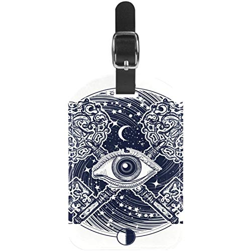 Luggage Tags All Seeing Eye of Moon Leather Travel Suitcase Labels 1 Packs