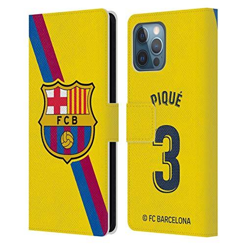 Head Case Designs Oficial FC Barcelona Gerard Piqué 2019/20 Jugadores Away Kit Grupo 1 Carcasa de Cuero Tipo Libro Compatible con Apple iPhone 12 Pro MAX