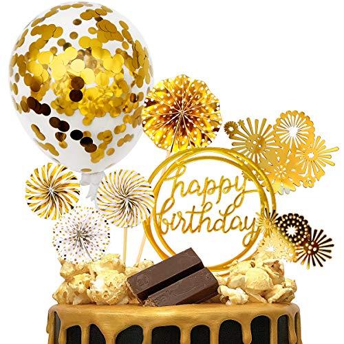 iZoeL Tortendeko Gold Happy Birthday Topper Golden Konfetti Luftballon Feuerwerk Papierfächer Kuchendeko Geburtstagstorte