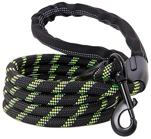 Correa para perro fuerte, cuerda reflectante, resistente a masticar para perros medianos y grandes, cierre de metal duradero, se fija al collar de mascotas