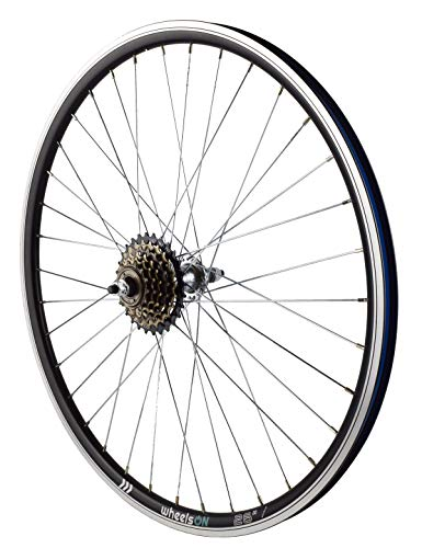 26 inch Rear Wheel + 6 speed Freewheel Hybrid/Mountain Bike Black/Silver Spokes 36H