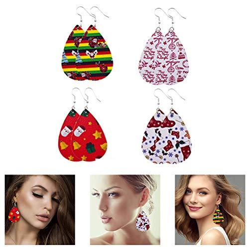 Naduew Faux Leather Earring Teardrop Earring, 4 Pairs Christmas Pattern Teardrop Dangle, Artificial Leather Earrings Lightweight Christmas Earrings Jewelry Gift for Women