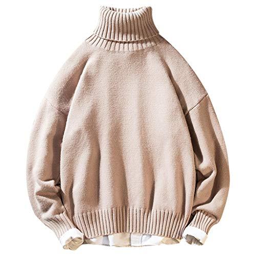 WatFY Men's Sweater Autumn Winter Blouse Casual Sweatshirt Long Sleeve Knitting Tops Warm Oversize Pullover Outerwear(Beige,2XL)