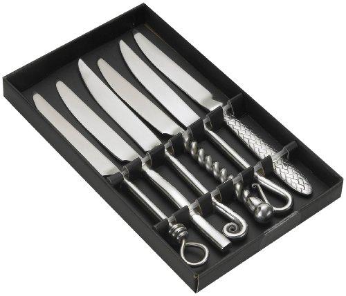 Jean Dubost Créations 96011 - Estuche con Cuchillos (6 Piezas), Mango de Varios diseños