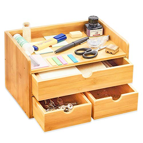 100% Natural Bamboo Wood Shelf Organizer for Desk with Drawers  Mini Desk Storage for Office Supplies, Toiletries, Crafts, etc  Great for Desk, Vanity, Tabletop in Home or Office