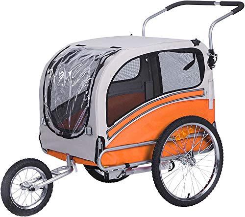 Sepnine Remolque Bicicleta Perros Carro Cochecito para Transporte Mascota 2 En 1 Convertible En Carro para Correr con Barra Y Kit De Footing Naranja