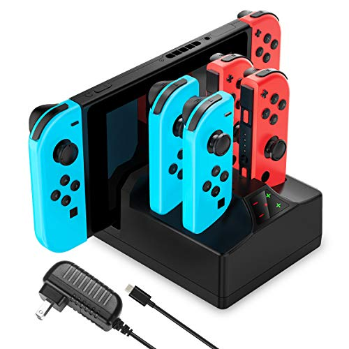 Switch Charger for Nintendo Switch, YCCTEAM 5 in 1 Charging Dock for Switch Joy-Cons and Console with AC Adapter Charger for Nintendo Switch-5FT Cable