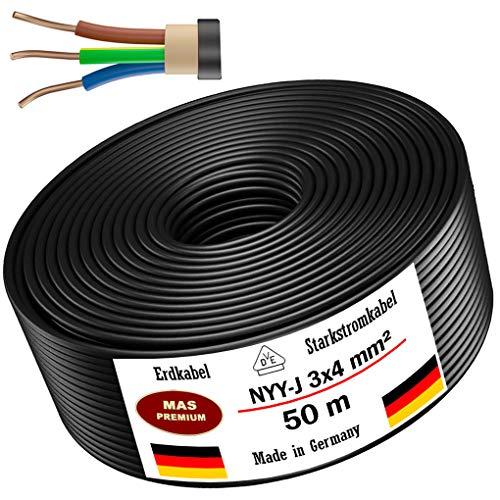 Câble d'alimentation de terre NYY-J - 5 m, 10 m, 20 m, 25 m, 30 m, 50 m ou 90 m - 3 x 4 mm² - Câble électrique - Anneau pour pose en extérieur, terre (50 m)