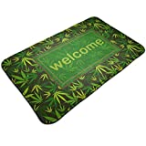 Welcome Marijuana Weed Leaf Green and Yellow Comfortable Indoor/Outdoor Entrance Mat Doormat Non-Slip Backing Bedroom Floor Carpet Bathroom Kitchen Rug Soft Yoga Pet Pad Home Decor