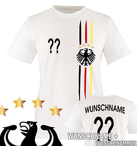 Comedy Shirts - WM 2018 | M1 | VORNE + HINTEN | Wunsch - Kinder T-Shirt - Weiss/Schwarz-Rot-Gelb Gr. 122-128