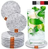Miqio® Design Glasuntersetzer - Filz und Leder - Waschbar - 10er Set Getränke Untersetzer mit...
