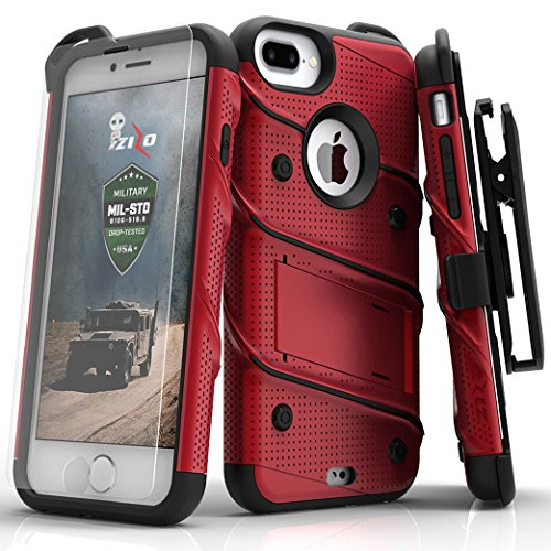 spec iphone 7 plus cases iPhone 7 Plus Case, Zizo [Bolt Series] w/ FREE [iPhone 7 Plus Screen Protector ] Kickstand [Military Grade Drop Tested] Holster Clip - iPhone 7 Plus
