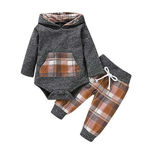 Gyratedream babyset met lange mouwen hoodie met plaid-print stramler + broekkostuum, herfst, 0-18M Large A