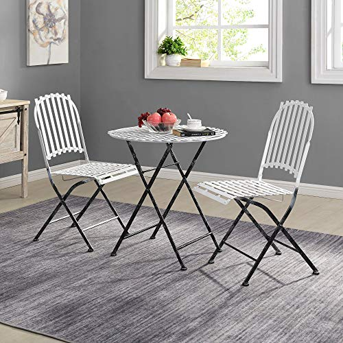 UKN Outdoor Folding 3-Piece Bistro Set American Crafted Aged White Metal 20.5 X 16 35 in Farmhouse Specialty