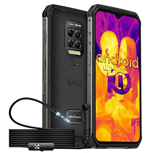 Móvil Resistente, Ulefone Armor 9 Con Cámara de Imagen Térmica FLIR Endoscopio Impermeable, Smartphone Antigolpes Android 10 4G IP68, Helio P90 Octa-Core 8+128GB, Cámara 64MP / FHD + de 6.3'', 6600mAh