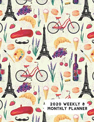 2020 Weekly & Monthly Planner: Travel Paris on Bike Themed Calendar & Journal