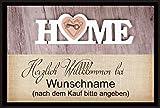 crealuxe Fussmatte Herzlich Willkommen bei mit Wunschname (nach dem Kauf angeben) 71...