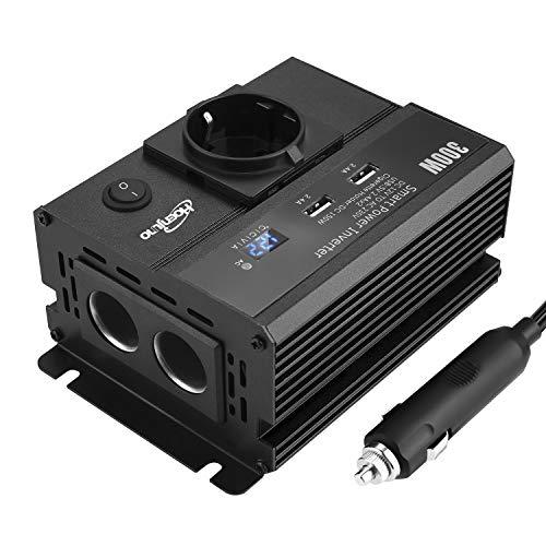 Hoenjuno 300W Auto Wechselrichter, KFZ Spannungswandler DC 12V auf AC 230V für Auto, Inverter mit 1 Steckdose und 2 USB Anschlüsse